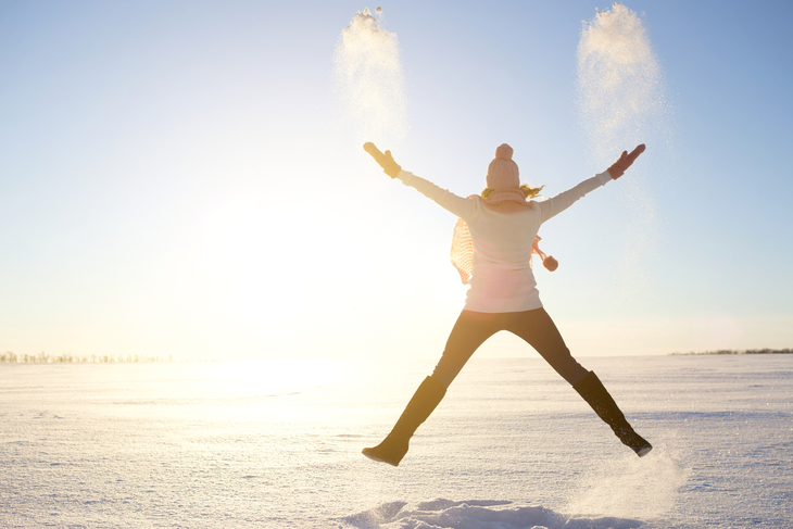 Vinter dame hopper sol